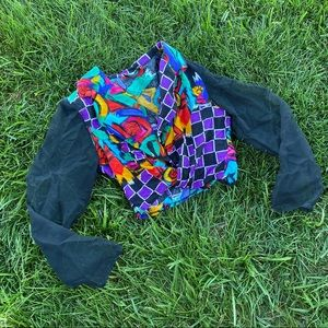 Vtg 80s 90s graphic sheer sleeve crop blouse sm